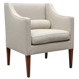 """Wilton"" by Lee Stanton Chair Upholstered in Belgian Linen or Custom Fabric For Sale"