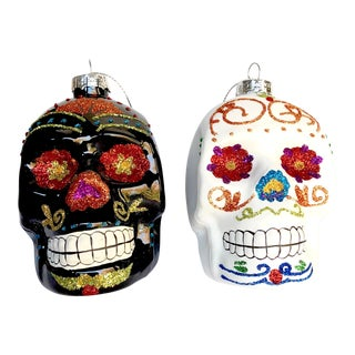 Hand Painted Sugar Skull Ornaments - a Pair For Sale