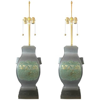 Pair of Marbro Asian Brass and Pewter Lamps, Circa 1950 For Sale