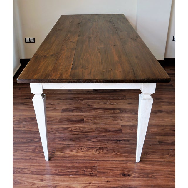 20th French painted dining farm table For Sale - Image 4 of 9
