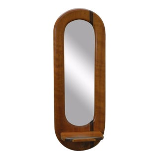 Studio Crafted Cherry Wood Elongated Narrow Wall Mirror W/ Shelf For Sale