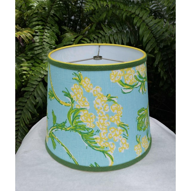 Shabby Chic Lilly Pulitzer Fabric Blue Floral Blue Green Yellow Tropical Lampshade For Sale - Image 3 of 12