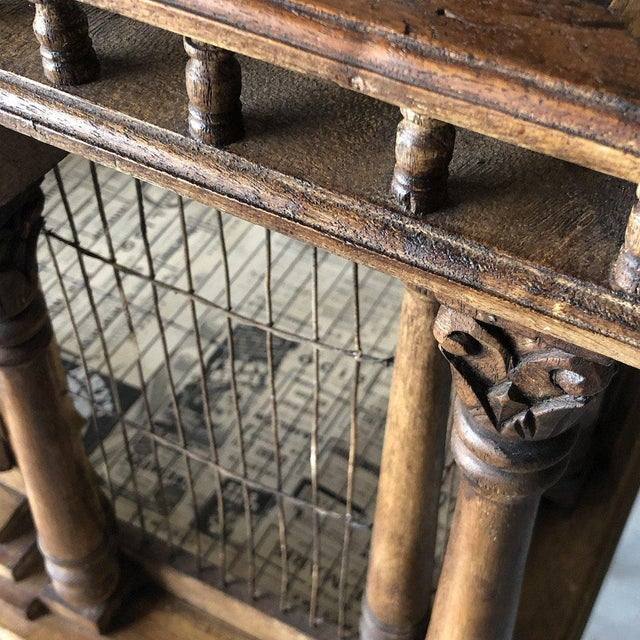 Wood Grand architectural birdcage on stand For Sale - Image 7 of 8