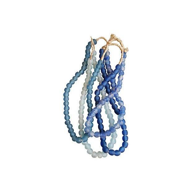 Aqua Blue & White Sea Glass Beads - 4 Strands - Image 2 of 4