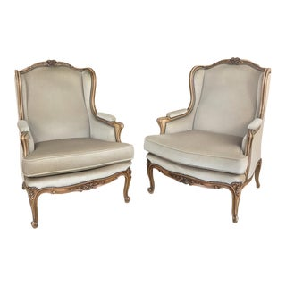 Pair Antique French Louis XV Bergeres ~ Armchairs For Sale