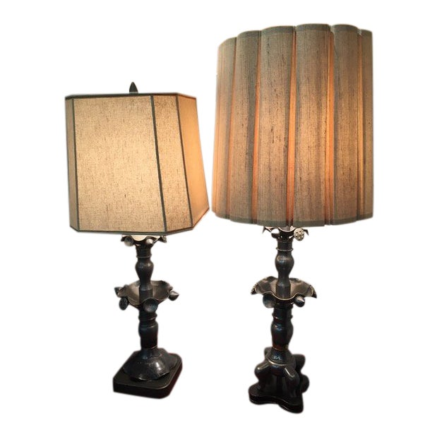 Vintage Marlboro Lighting Co Metal Pewter Table Lamps - A Pair For Sale