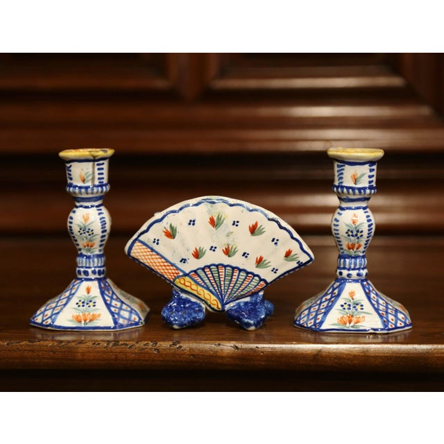 Blue Mid-20th Century French Henriot Quimper Pair of Candlesicks With Matching Vase For Sale - Image 8 of 13