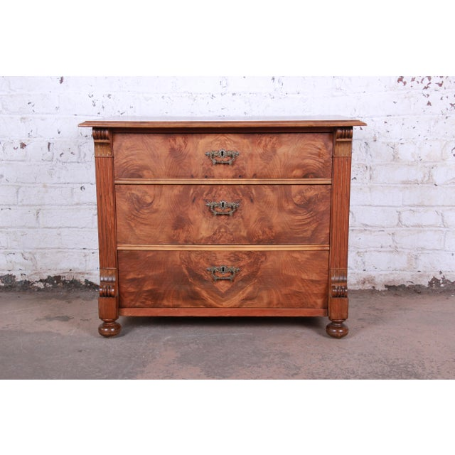 19th Century Continental Burled Walnut Three-Drawer Bachelor Chest For Sale - Image 13 of 13