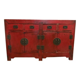 Antique Red Lacquered Asian Credenza For Sale