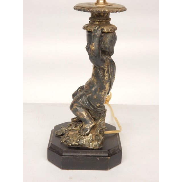French 19th Century French Brass Putti Figure Candlestick Lamp For Sale - Image 3 of 6