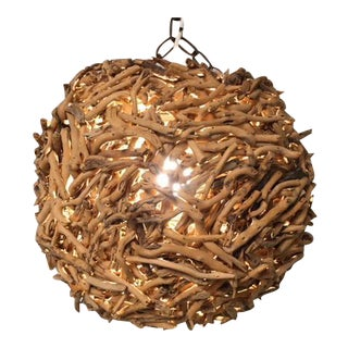 Driftwood Ball Single Light Fixture For Sale