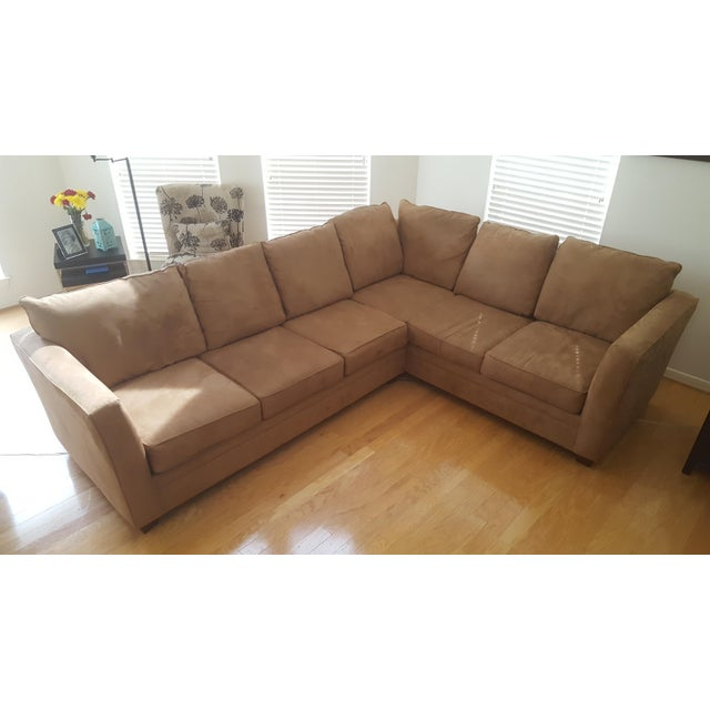 Modern Macy's L-Shaped Suede Sectional Sofa For Sale - Image 3 of 5