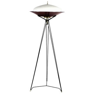 1960´s Tripod Standing Lamp, metal, white opaline, brass, plexiglass - Italy For Sale