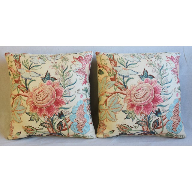 Pair of custom-tailored pillows in vintage/never used hand-printed 100% linen fabric from Travers & Company Fabrics...