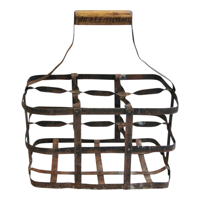 1930s French Metal 6 Bottle Wine Carrier For Sale