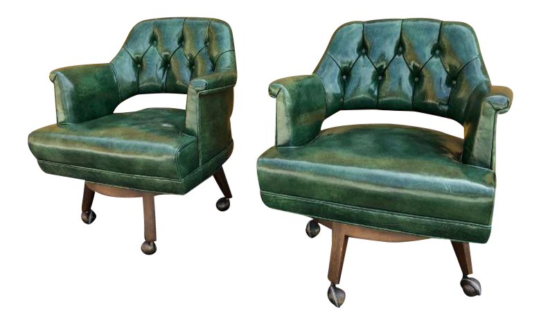 1960u0027s Vintage Monteverdi Young Emerald Green Chairs  A Pair