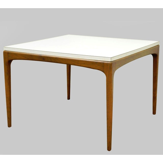 Vintage Mid Century Modern Walnut & Laminate Square Coffee Table Danish Style For Sale - Image 11 of 11