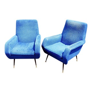 Marco Zanuso Style Blue Lounge Chairs - a Pair For Sale
