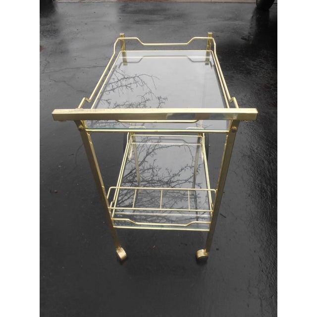 Hollywood Regency Vintage Hollywood Regency Brass & Glass Tea/Bar Cart Server For Sale - Image 3 of 5