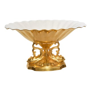 Mid-Century Modern Lenox 24k Gold Aquarius Centerpiece Bowl For Sale