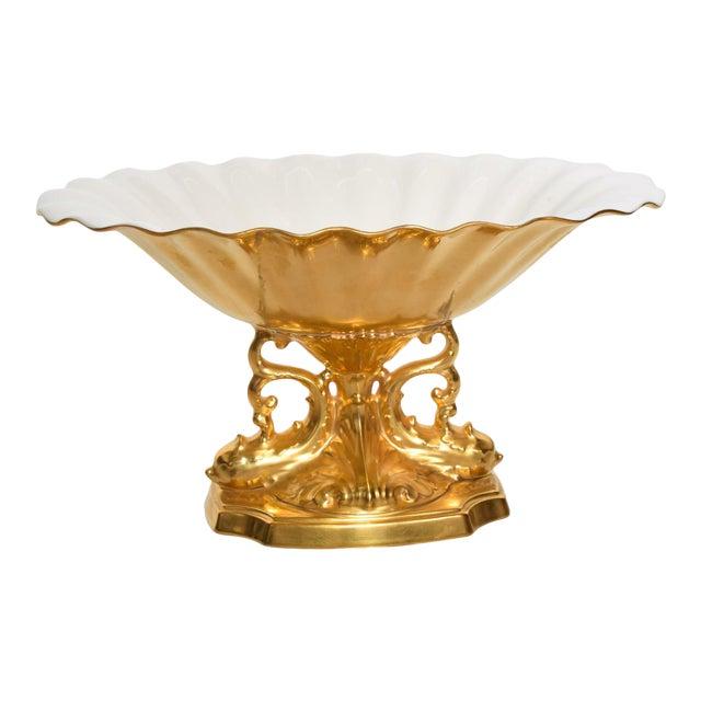 Mid-Century Modern Lenox 24k Gold Aquarius Centerpiece Bowl For Sale