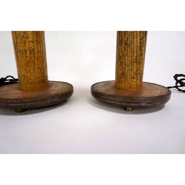 Industrial Vintage Spools Converted to Table Lamps - A Pair For Sale - Image 3 of 6