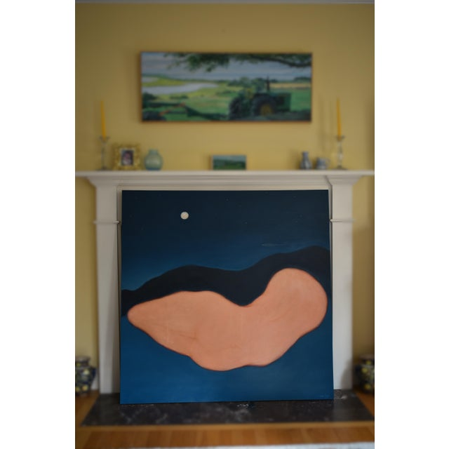 """Blue """"Night"""" Large Contemporary Abstract Painting by Stephen Remick For Sale - Image 8 of 10"""