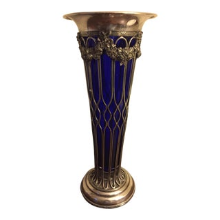 Sheffield Silver Vase With a Cobalt Glass Liner For Sale