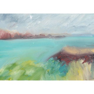 Menorca Seascape Painting in Oil Sticks by Donna Weathers For Sale
