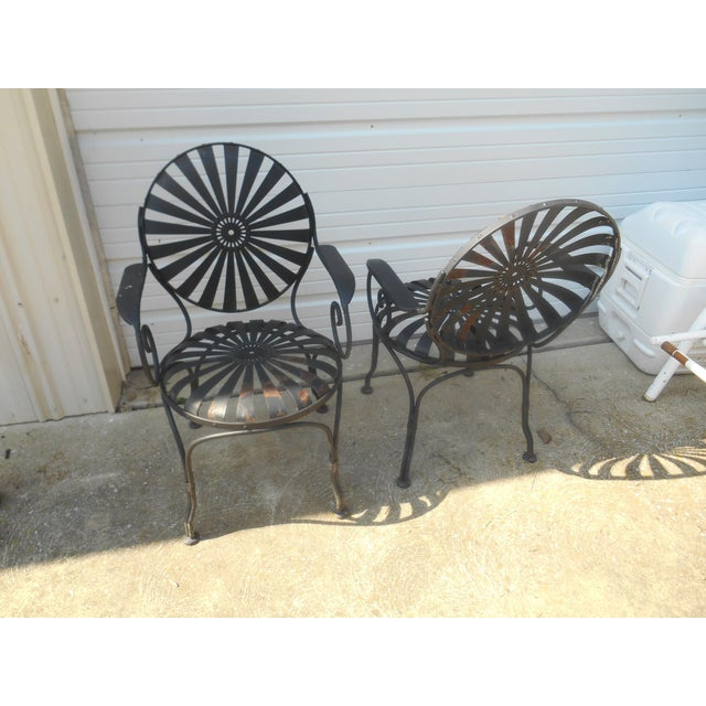 1940s 1940s Francois Carre French Art Deco Iron Sunburst Garden Side Chairs- a Pair For Sale - Image 5 of 6