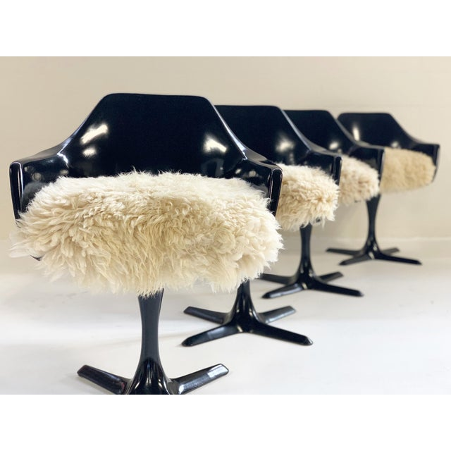 White Burke Inc Tulip Style Armchairs With Custom California Sheepskin Cushions - Set of 4 For Sale - Image 8 of 10