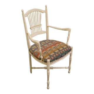 Late 20th Century Vintage Century Furniture Wheat Back White Dining Arm Chair For Sale