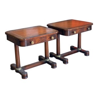 Antique English End Tables With Leather Tops - Set of 2 For Sale