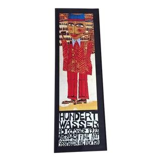"""Vintage 1973 Framed """"Hundertwasser"""" Exibition Poster"""