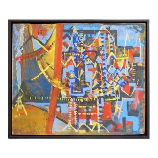 Mid-Century Geometric Abstract Oil Painting in Blue, Red and Yellow on Masonite For Sale