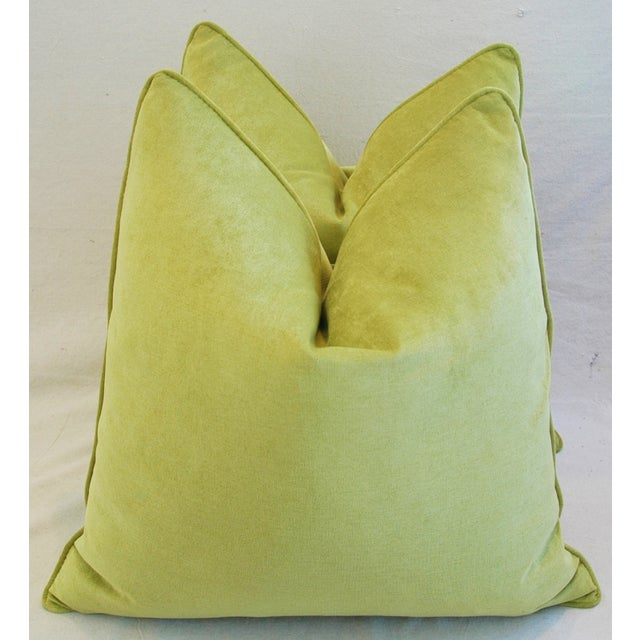 "Contemporary Ultra Soft Apple Green Velvet Feather/Down Pillows 24"" Square - Pair For Sale - Image 3 of 10"