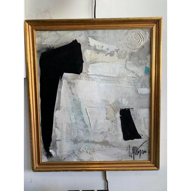 1960s Graham Harmon Black & White Oil Painting For Sale - Image 4 of 4