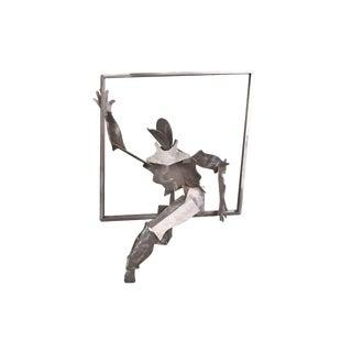 1990's Donna Kario Salem Figure Climbing Through Window Aluminum Sculpture For Sale