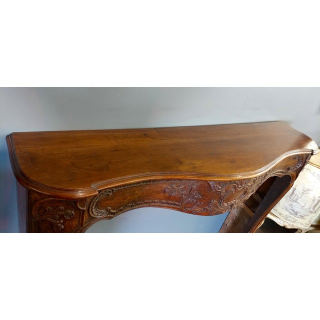 19th Century Hand Carved Walnut Fireplace Mantel - Image 9 of 10