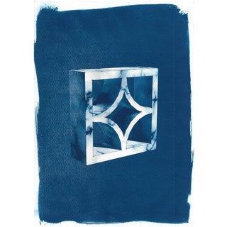 Cyanotype Print - Mid-Century Screen Block, Cyanotype Print on Watercolor Paper For Sale