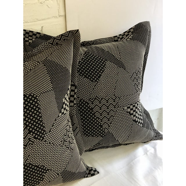 """Art Deco Pair of 20"""" Square Black and White Stitched Patchwork Pillows by Jim Thompson For Sale - Image 3 of 11"""