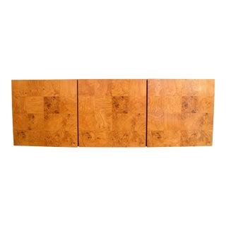 Milo Baughman Wall-Mounted Burl Wood Cabinet For Sale