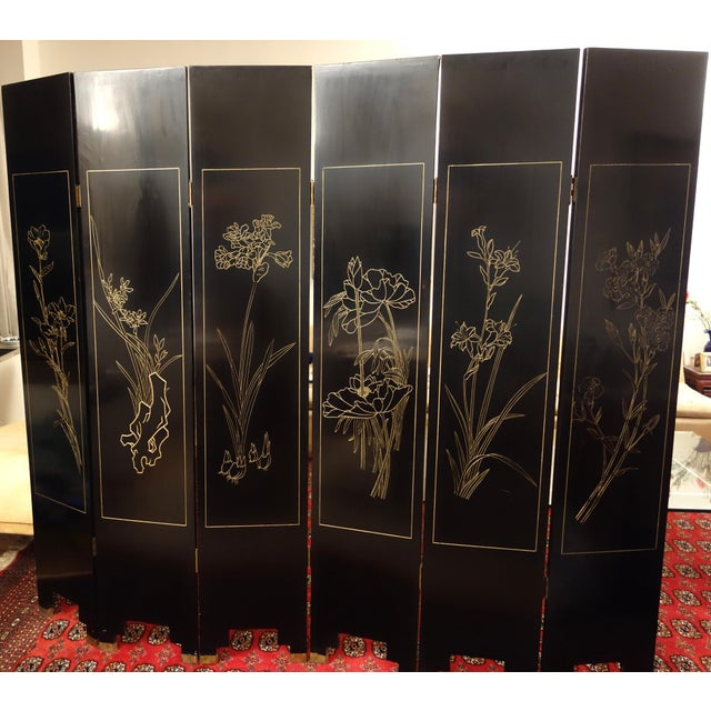 Vintage Chinese 6 - Panel Peacock Screen For Sale - Image 9 of 10