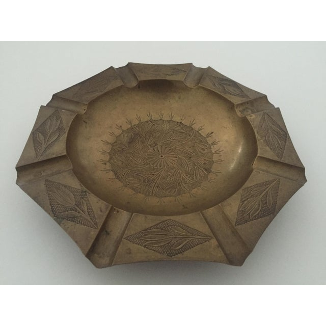 Vintage Mid Century India Brass Octagonal Etched Design Ashtray For Sale - Image 9 of 10