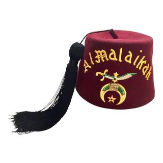Vintage Al Malaikah Masonic Shriner Burgundy Wool Fez Hat For Sale
