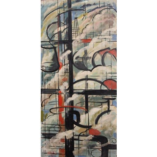 Abstract Mid-Century Modern Industrial Oil Painting For Sale