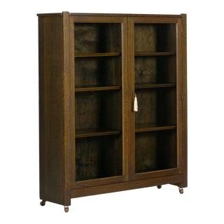 Mission Arts & Crafts Oak Antique Bookcase Bookshelf Cabinet, 20th Century For Sale