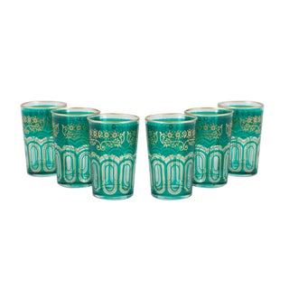 Bahia Green & Gold Tea Glasses - Set of 6 For Sale