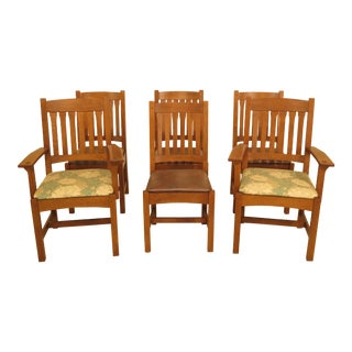 1990s Vintage Stickley Mission Oak Dining Room Chairs- Set of 6 For Sale