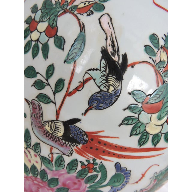 Red Antique 'Chinese Opera' Rose Mandarin Lidded Porcelain Ginger Jar With Gilt Finial For Sale - Image 8 of 11